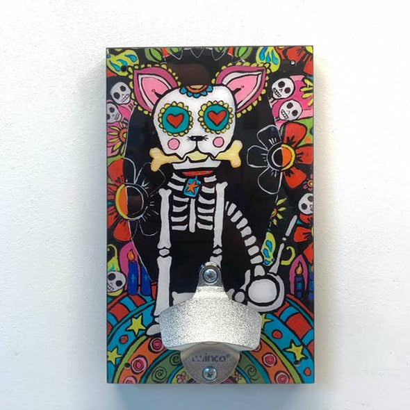 Wall Mounted Bottle Opener - Day of Dead Dog