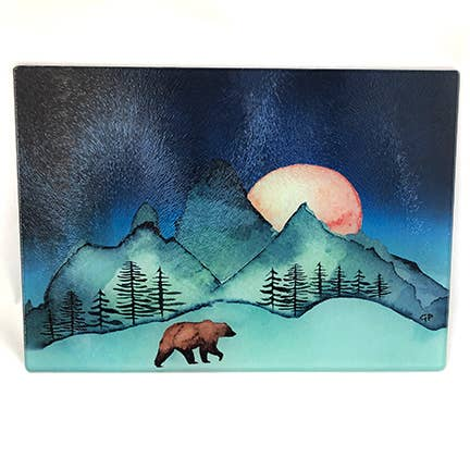 Moon Over Mountains Bear Cutting Board