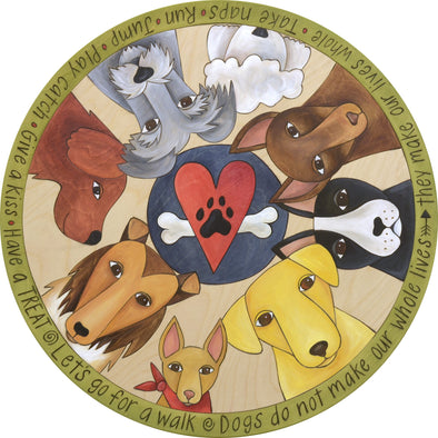 "18"" Life with Dogs Sincerely Sticks Lazy Susan"