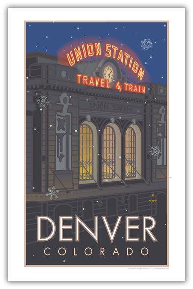 Denver Union Station (Snowflakes) Poster 11 x 17