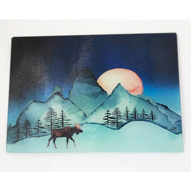 Moon Over Mountains Moose Cutting Board
