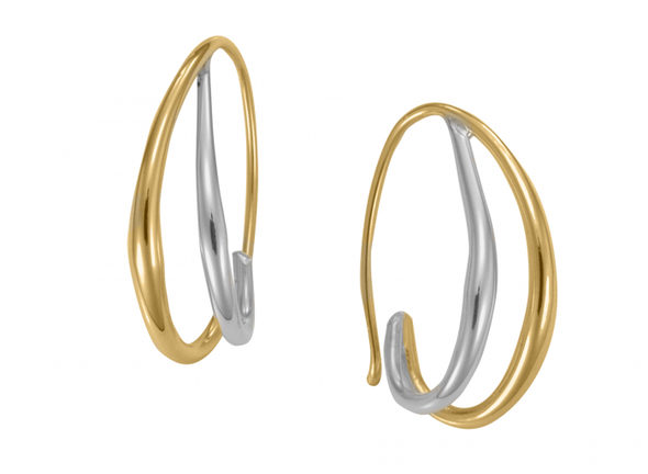 Duo Hoop Earrings Sterling Silver w/14k Gold Overlay