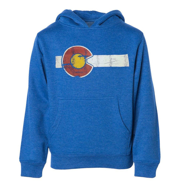 Kids Blue CO Flag Hoodie