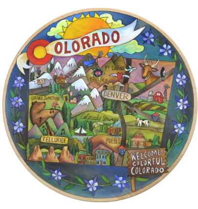 "18"" Welcome to Colorful Colorado Sincerely Sticks Lazy Susan"