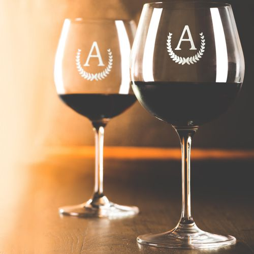 Red Wine Glass Monogram - Set of 2