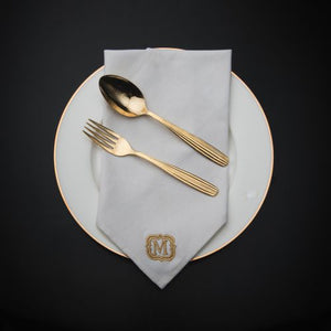 White Table Napkins - Monogram