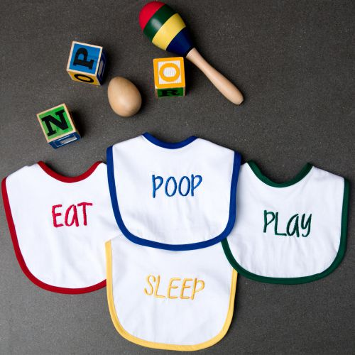 Eat, Play, Sleep, Poop Bibs - Set of 4