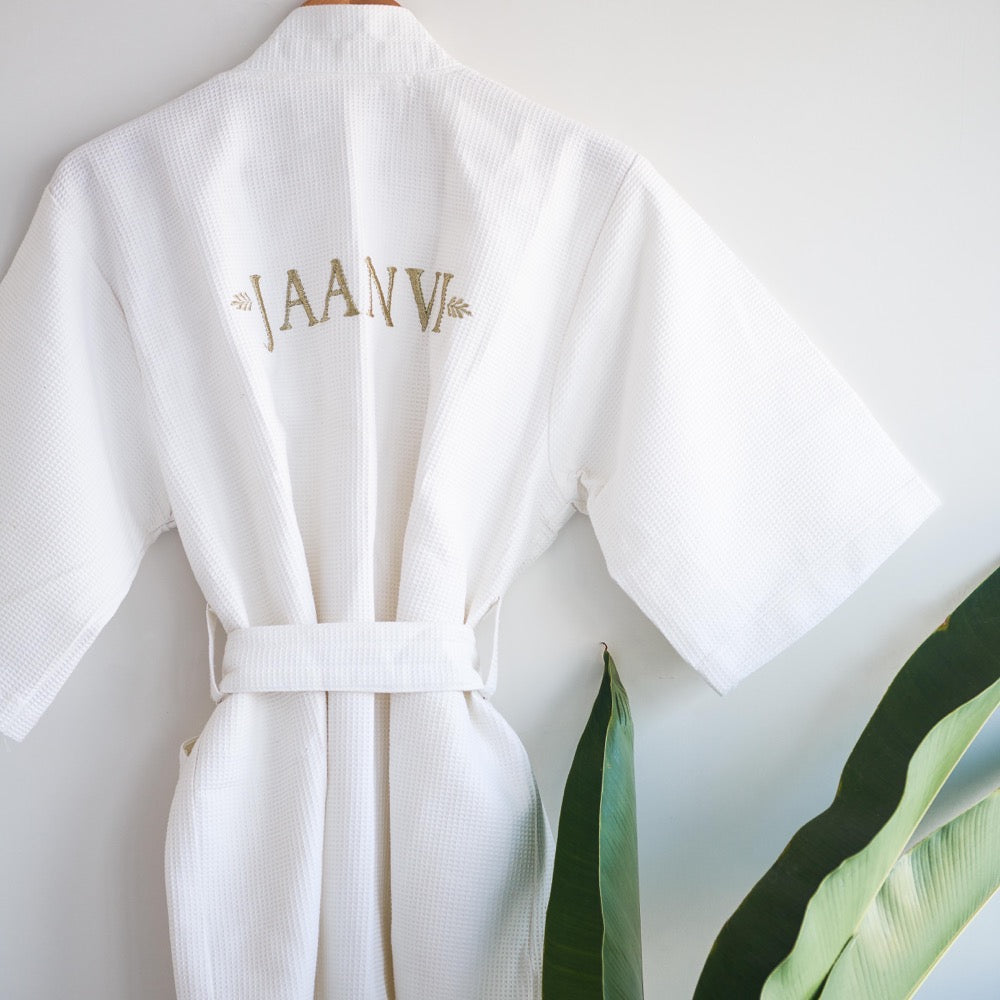 Monogram Bath Robes - Resort Waffle Robe