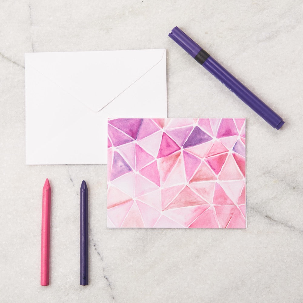 Pink Geo Kids Stationery - Big Notecards