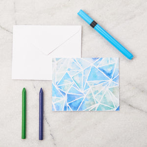 Blue Geo Kids Stationery - Big Notecards