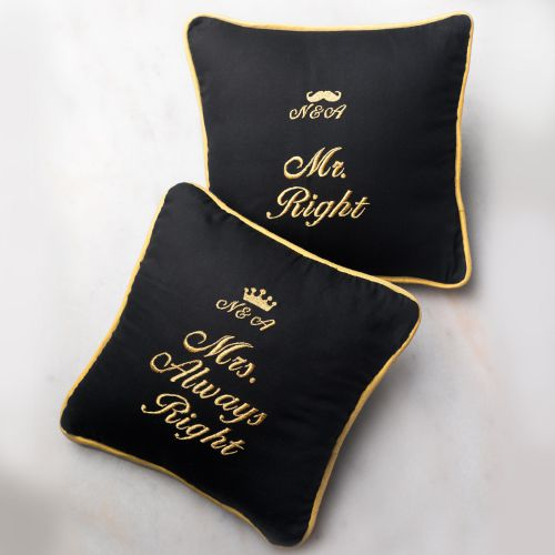 Monogram Mr & Mrs Right Cushion - Set of 2