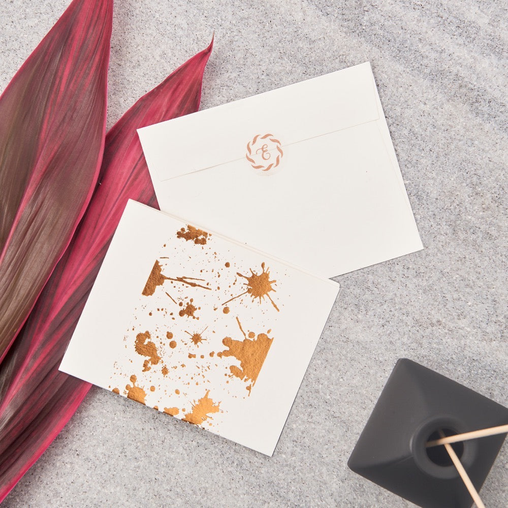 Splatter Big Notecards - Copper