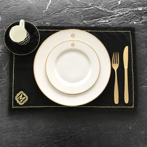 Black Table Mats - Monogram