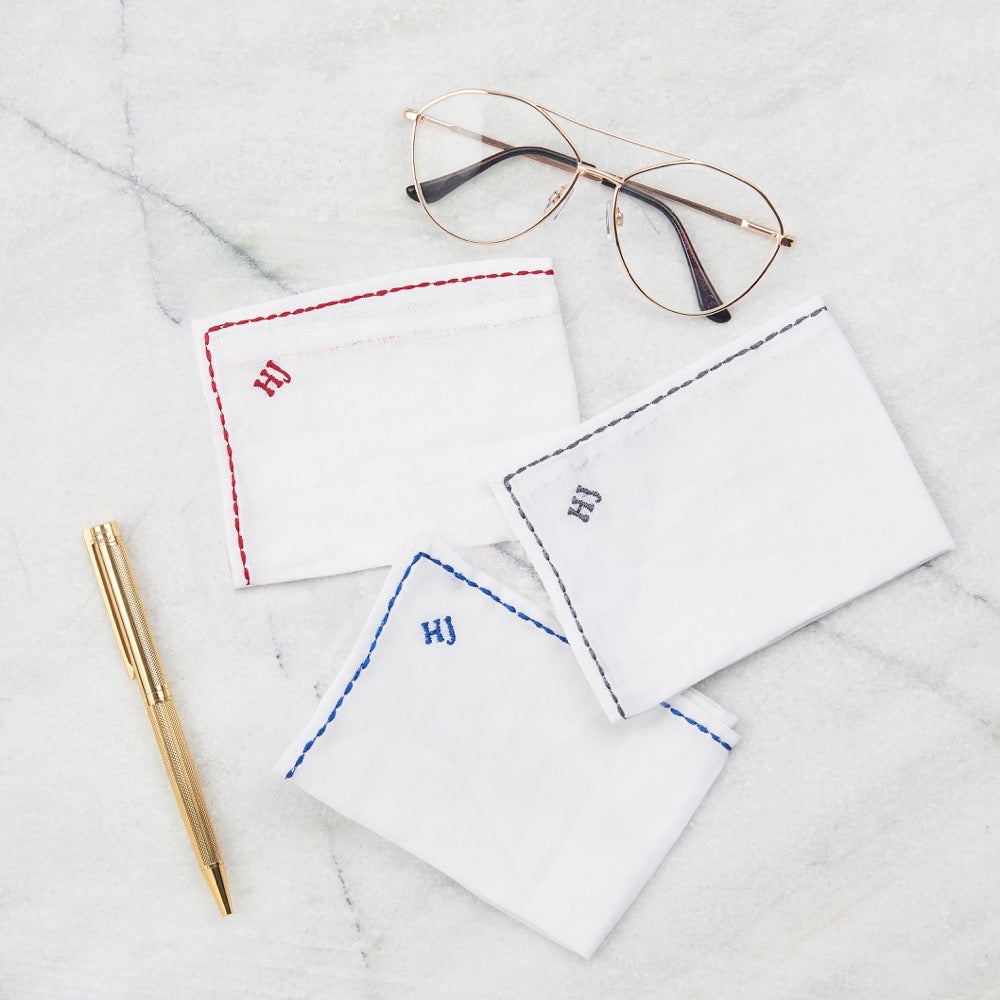 Pocket Square Linen - Monogram