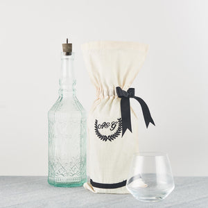 Monogrammed Wine Bottle Bag - Set of 2