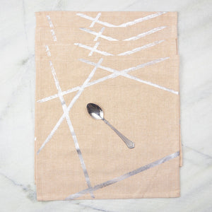 Silver Random Lines Table Napkins
