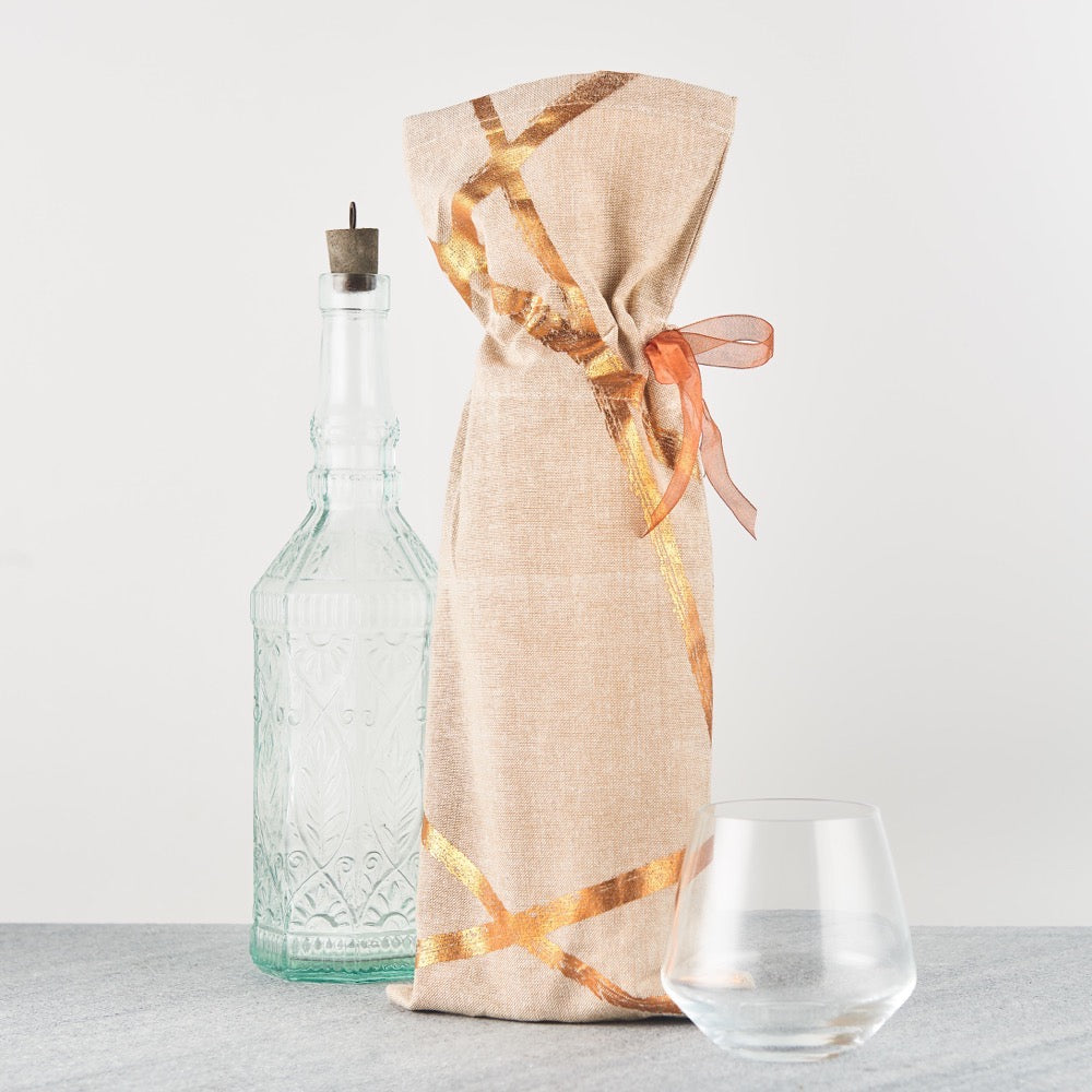 Copper Random Line Wine Bottle bag - Set of 2