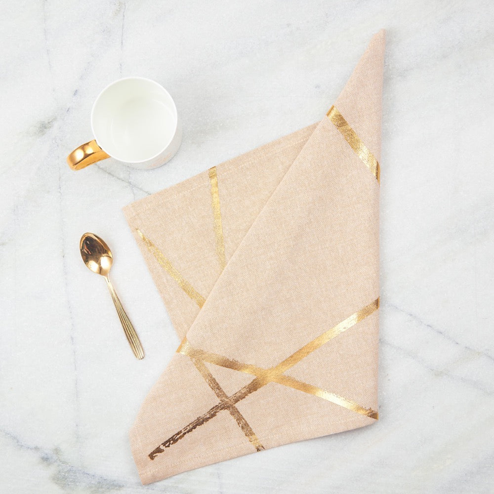 Gold Random Lines Table Napkins