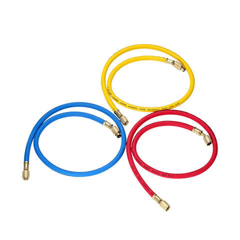 "3pcs 1/4"" SAE Universal R12 R22 R502 Manifold Gauge Sets Three-color Charging Hoses for HVAC Air Condition Refrigerant"