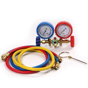 R134A R12 R22 R502 Refrigerants Manifold Gauges Tools Set  Double Table Valve Three Colored