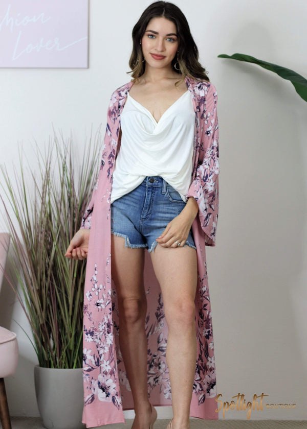 Carried Away Pink Flower Kimono-Tops-Spotlight Boutique