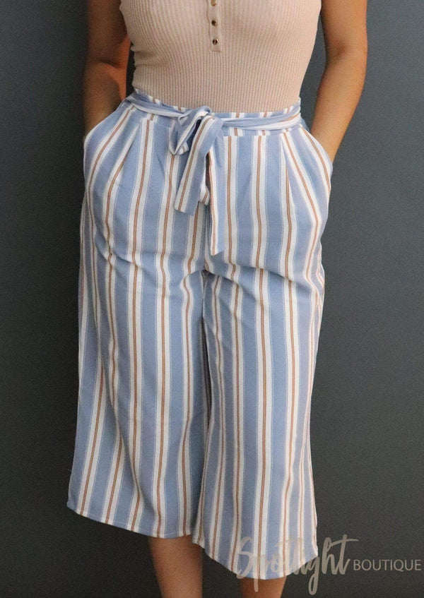 Chambray Stripe Cullote Pants-Pants-Spotlight Boutique