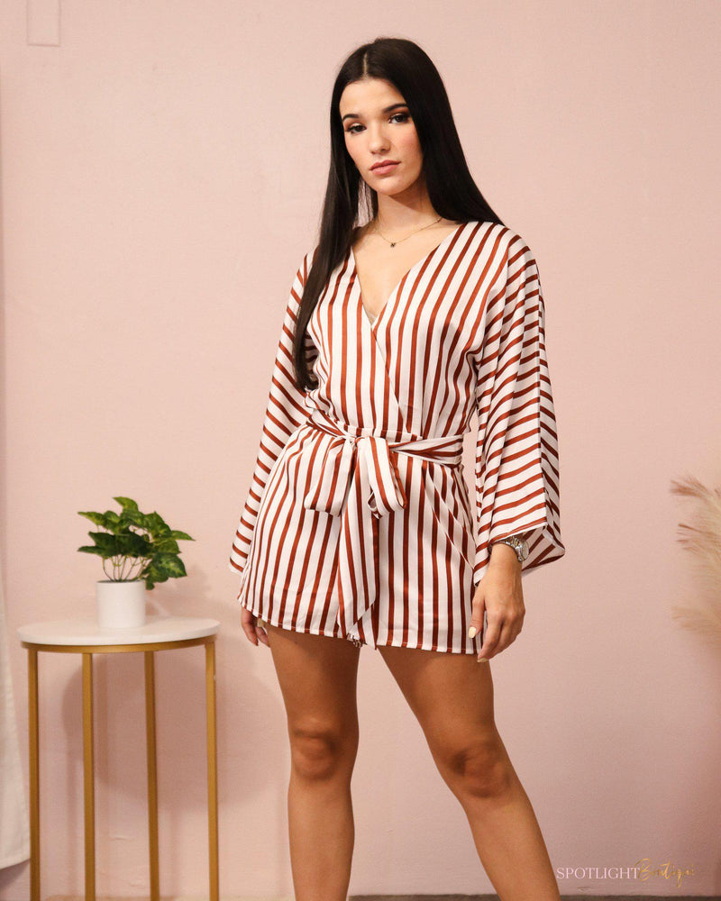 Chic Stripe Long Sleeve Romper-Rompers-Spotlight Boutique