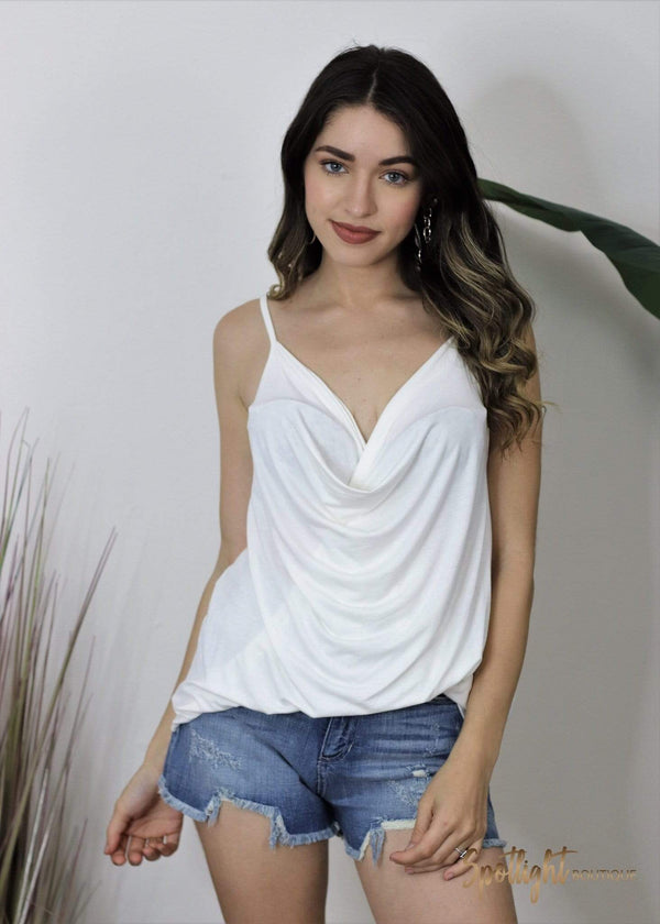 Cowl Neck Draped Classic White Layering Tank Top-Tops-Spotlight Boutique