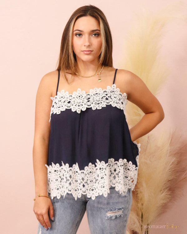 In the Navy Lace Top-Tops-Spotlight Boutique