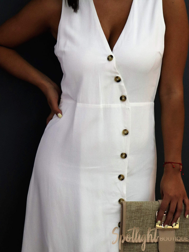 Jessie White Button Dress-Dresses-Spotlight Boutique