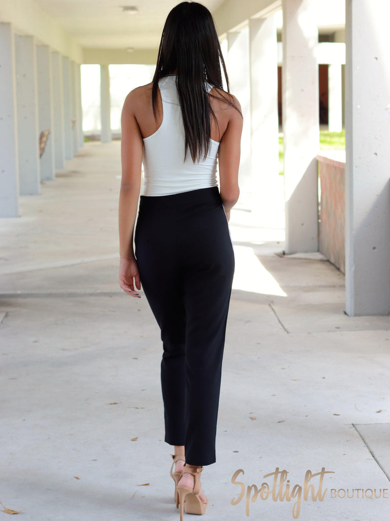 Lucky Stripe Black Pants-Pants-Spotlight Boutique