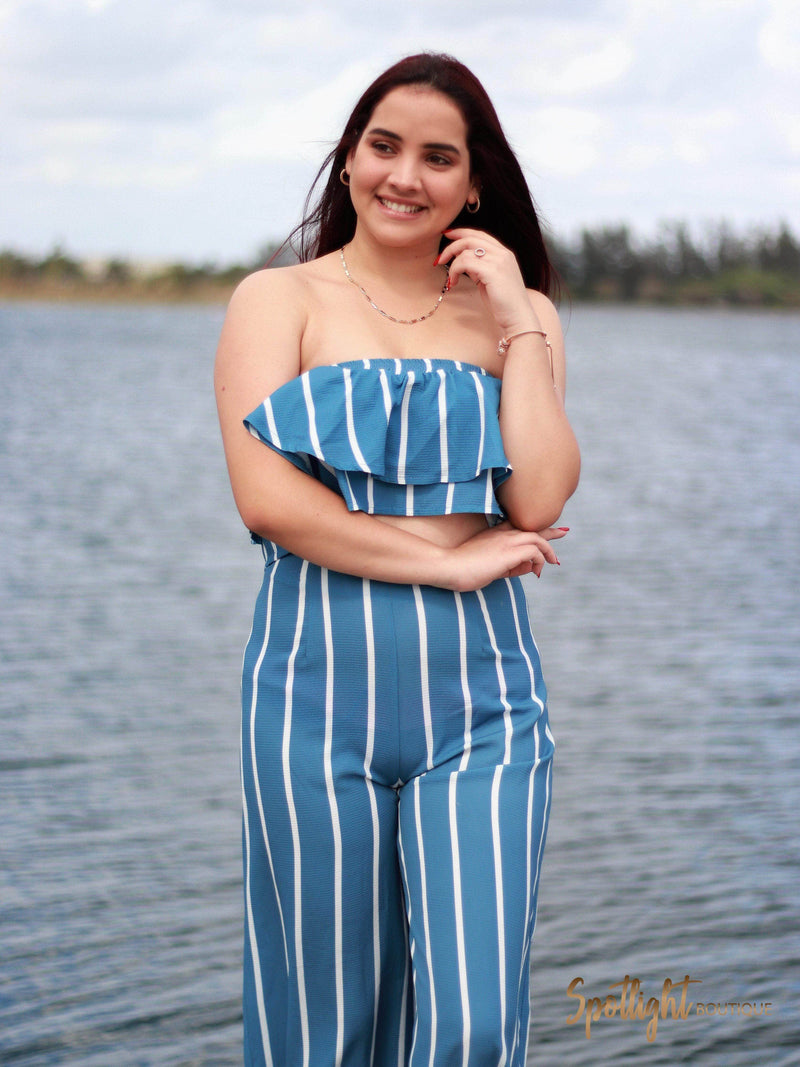 No More Blues Layered Tube Top & Pant Set-Sets-Spotlight Boutique