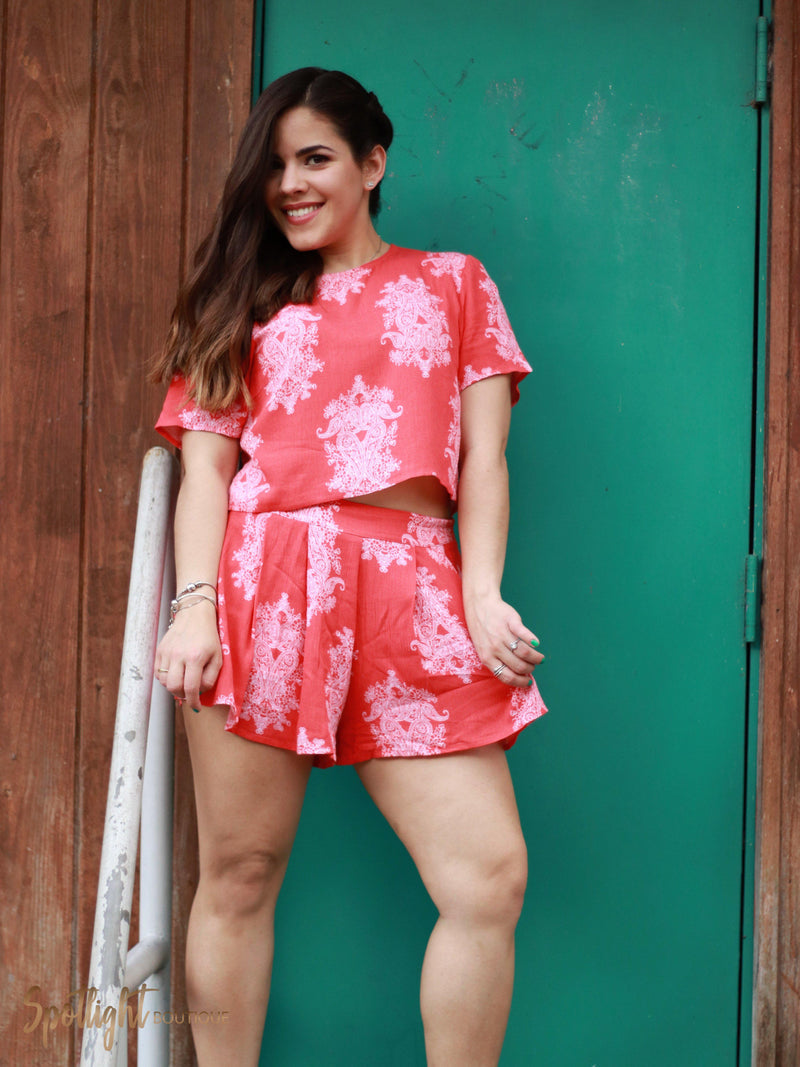 Out and About Coral Shorts Set-Sets-Spotlight Boutique