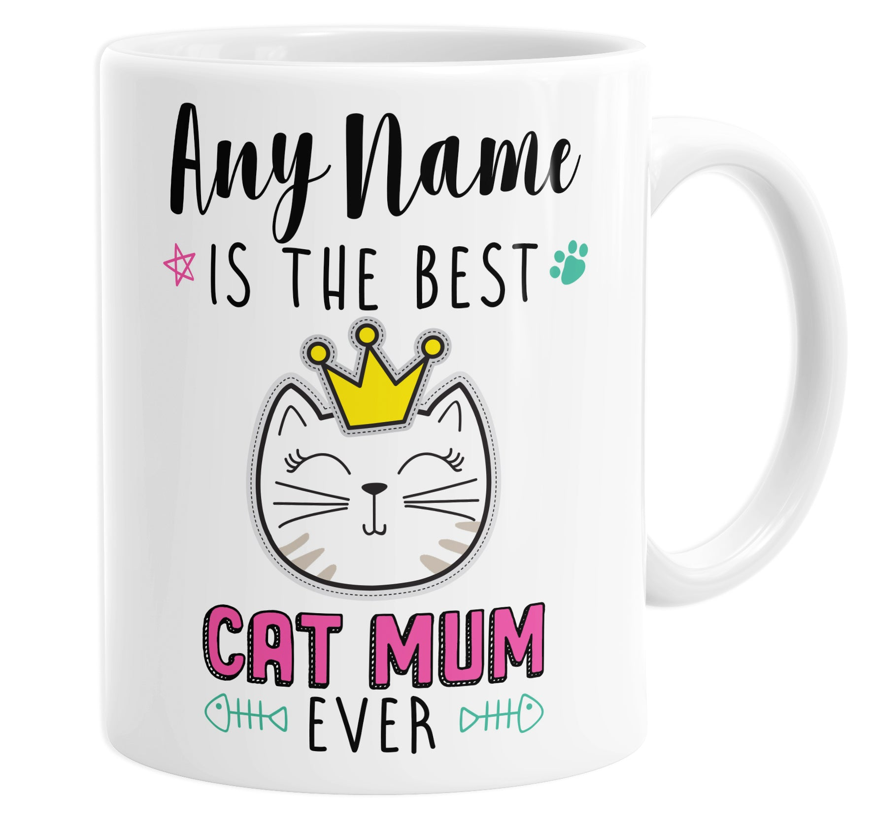 The Best Cat Mum Ever Personalised Custom Name Mug