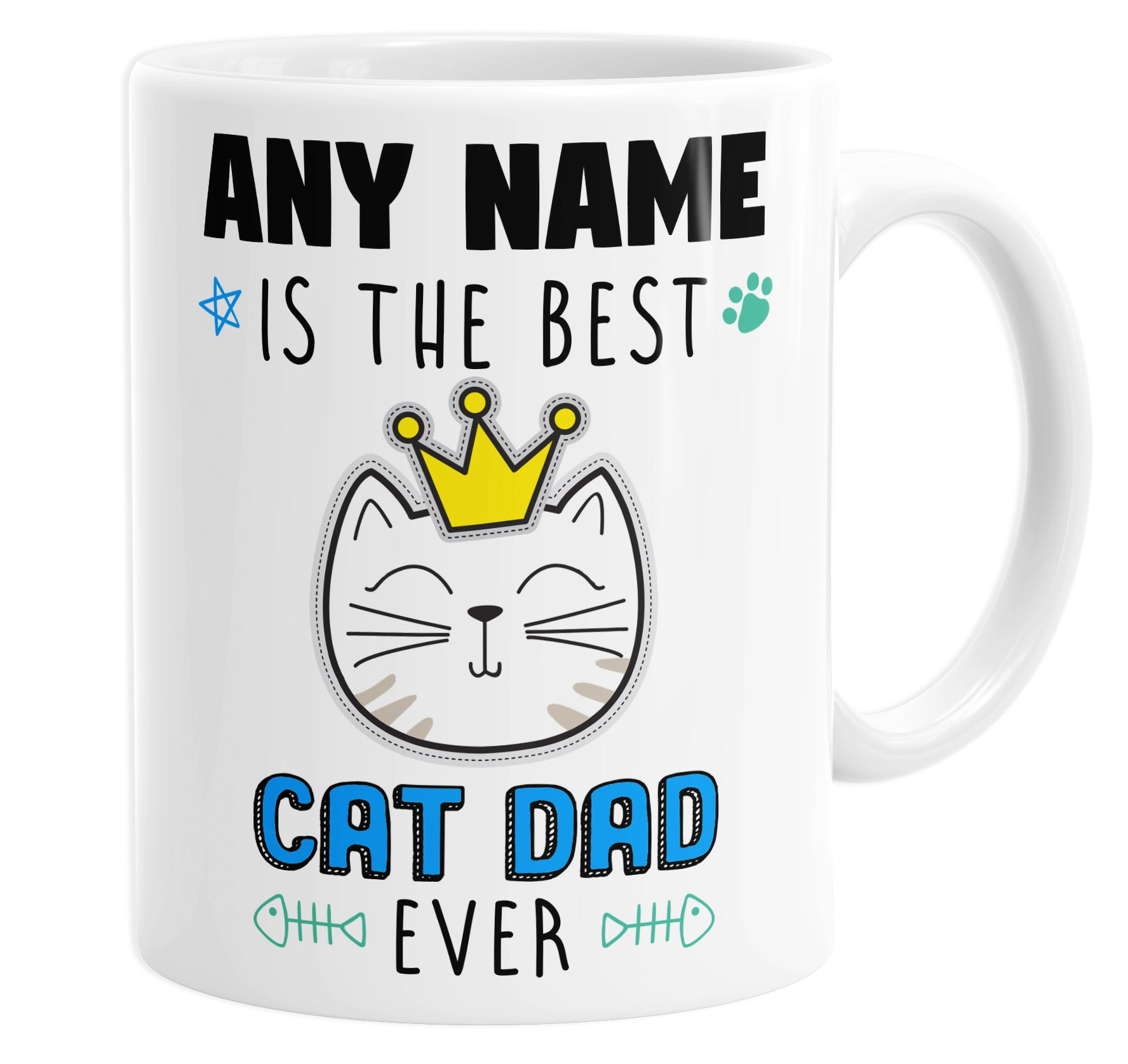 The Best Cat Dad Ever Personalised Custom Name Mug