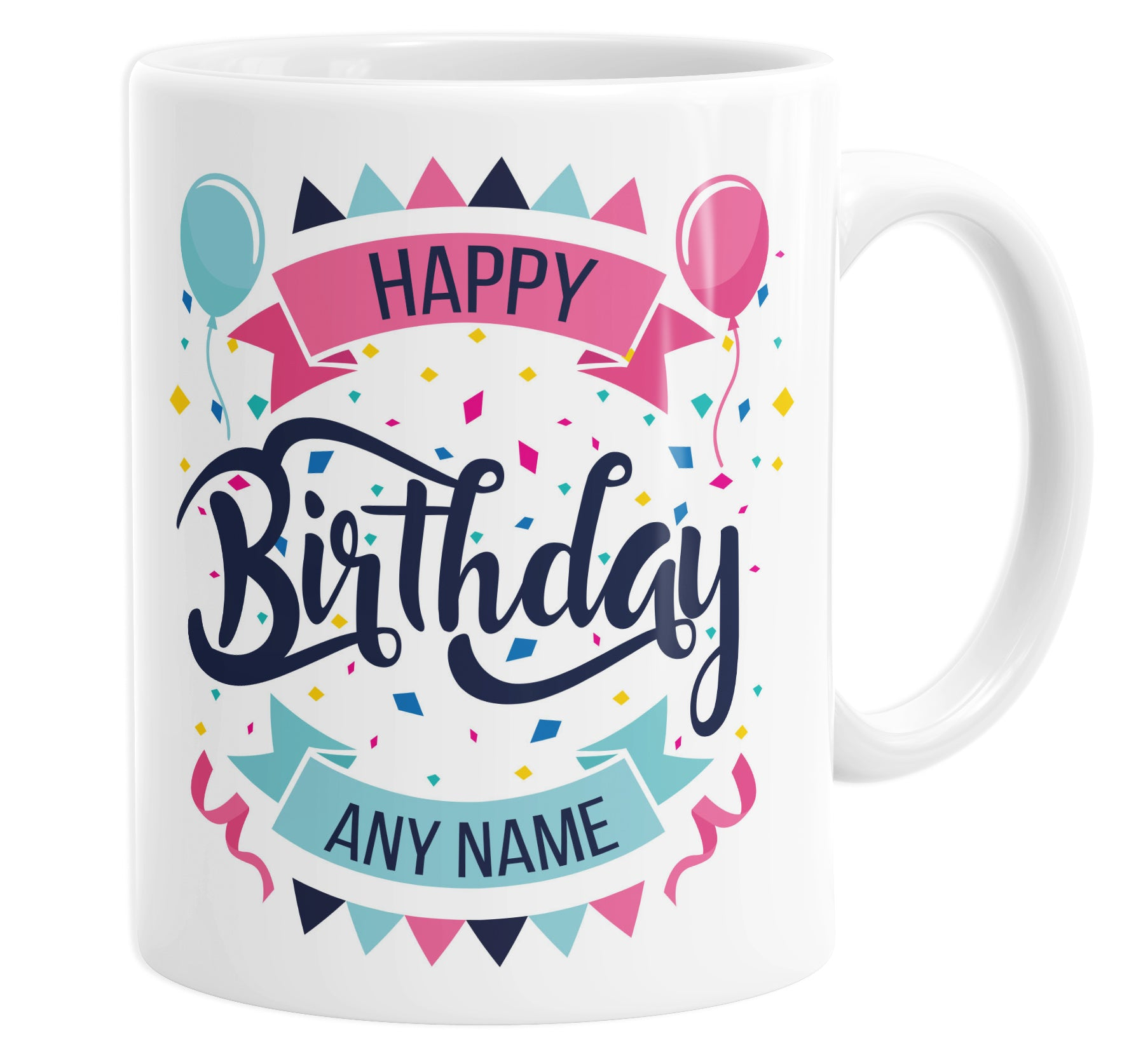 Happy Birthday Banners & Balloons Personalised Custom Name Mug