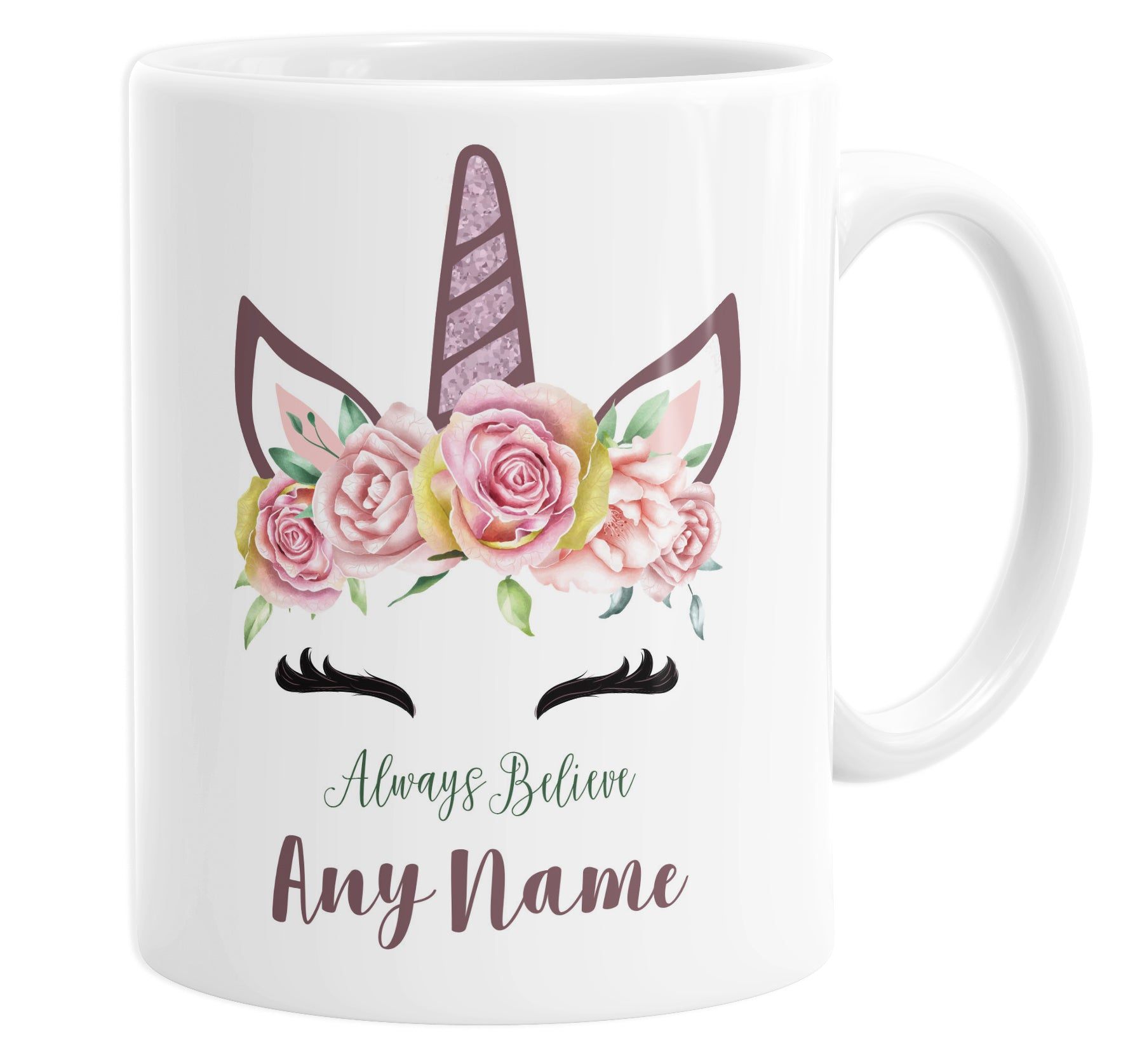 Always Believe Unicorn Personalised Custom Name Mug