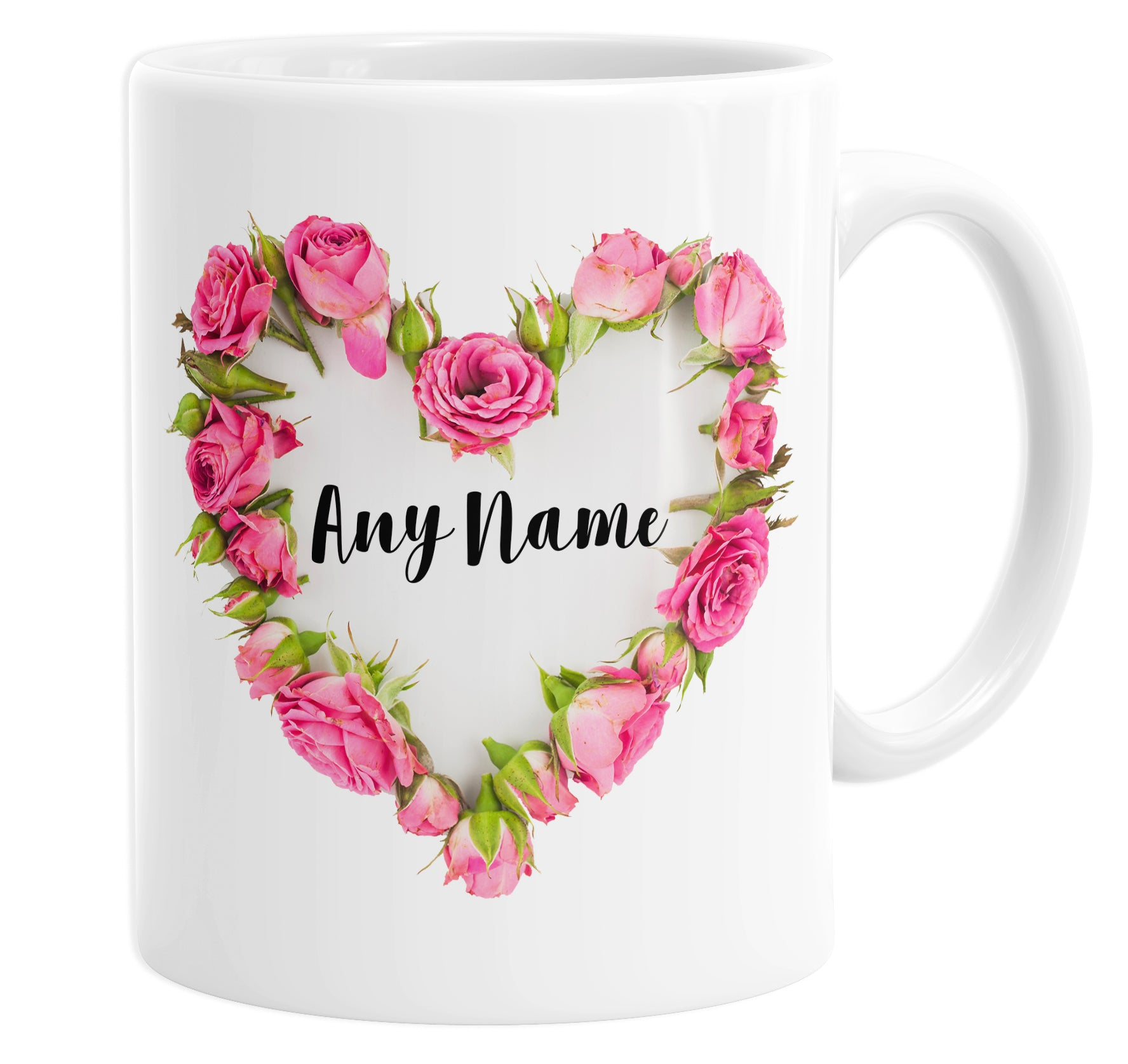 Floral Love Heart Pink Roses Wreath Bouquet Personalised Custom Name Coffee Mug Tea Cup For Her