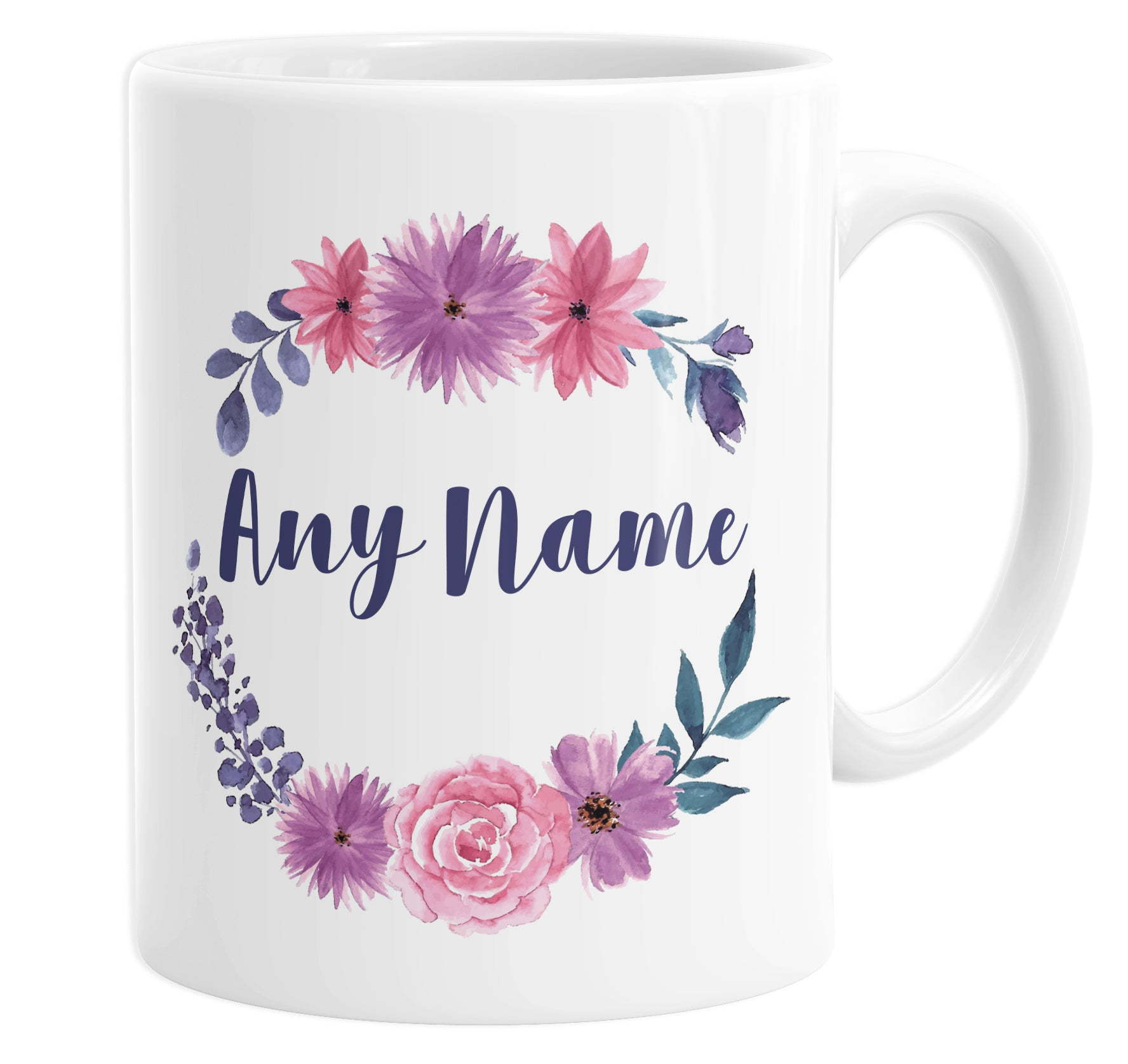 Floral Round Wreath Bouquet Leaves Personalised Custom Name Mug