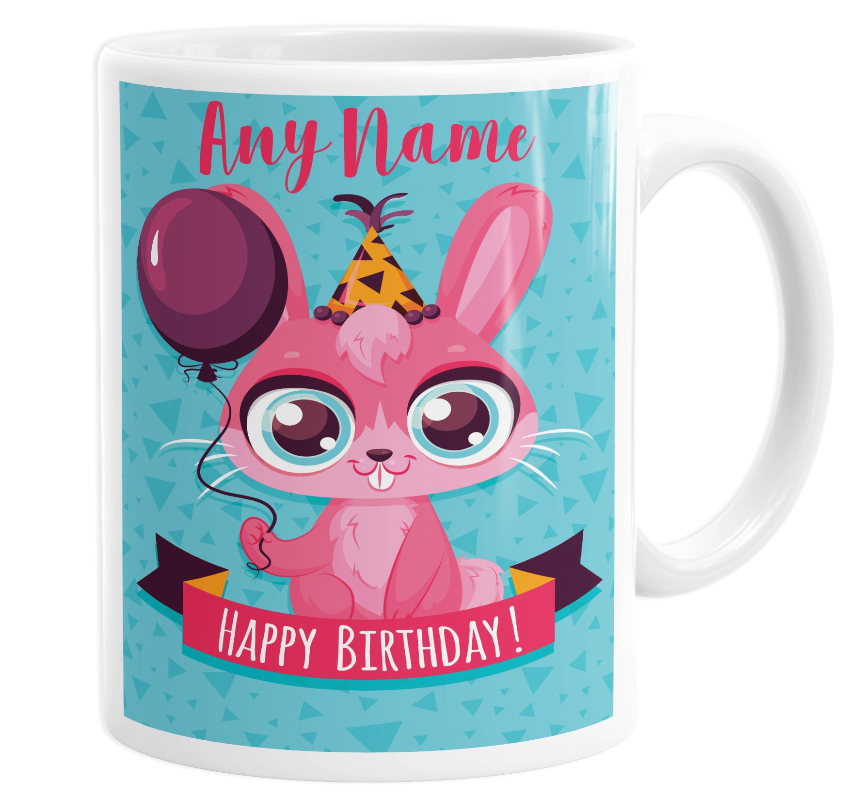 Happy Birthday Pink Rabbit Personalised Custom Name Mug