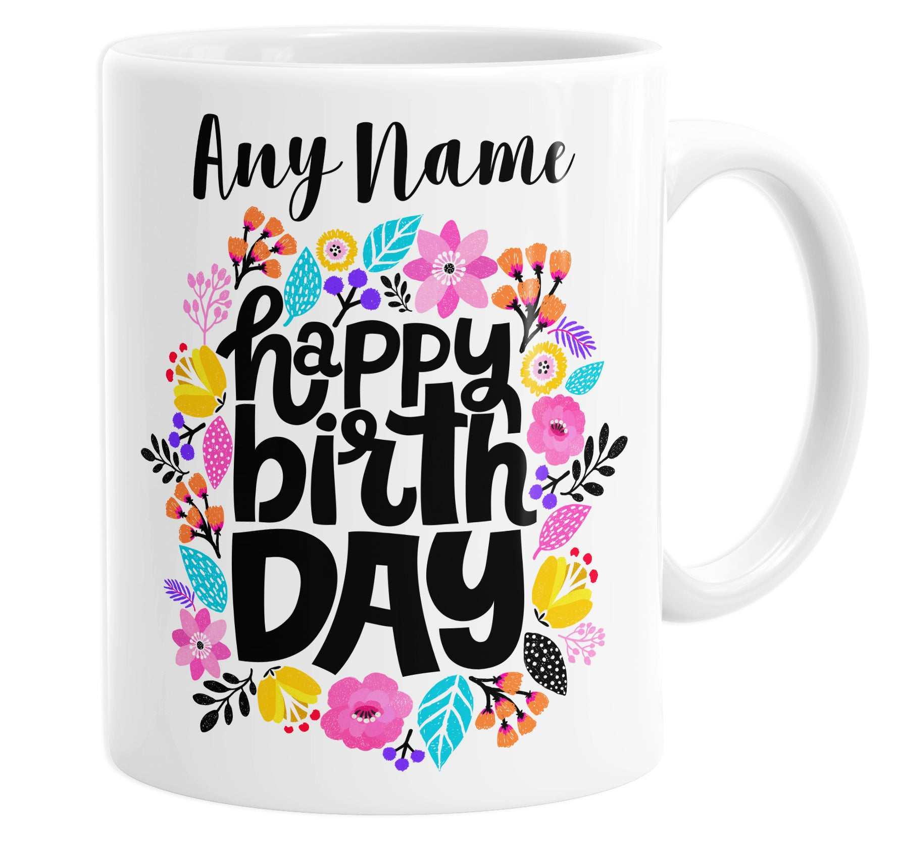 Happy Birthday Floral Hippy Boho Personalised Custom Name Mug