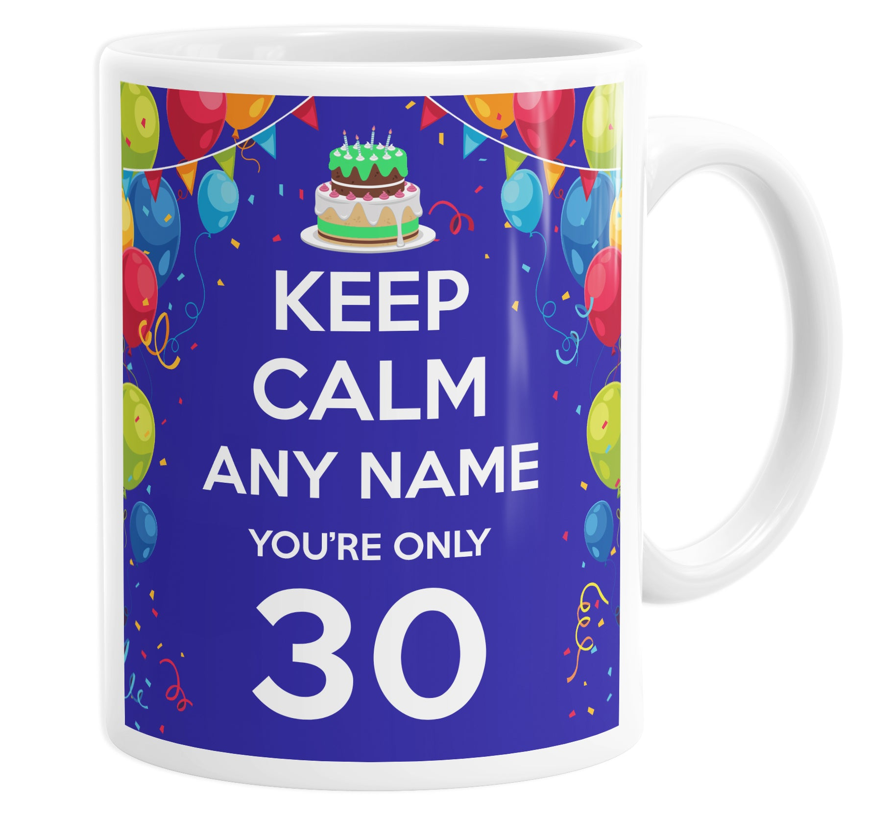 Keep Calm You're Only 30 Personalised Custom Name Mug