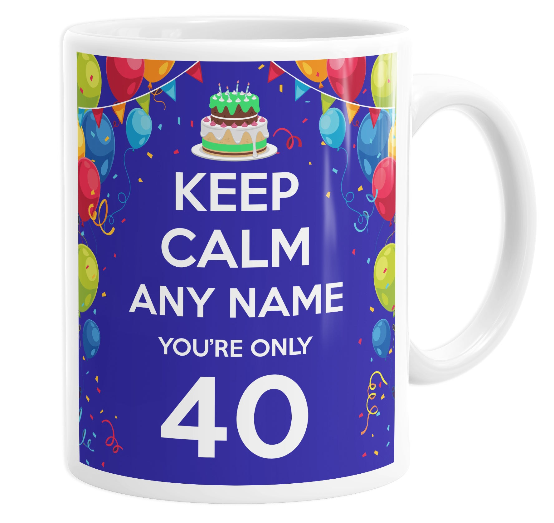 Keep Calm You're Only 40 Personalised Custom Name Mug