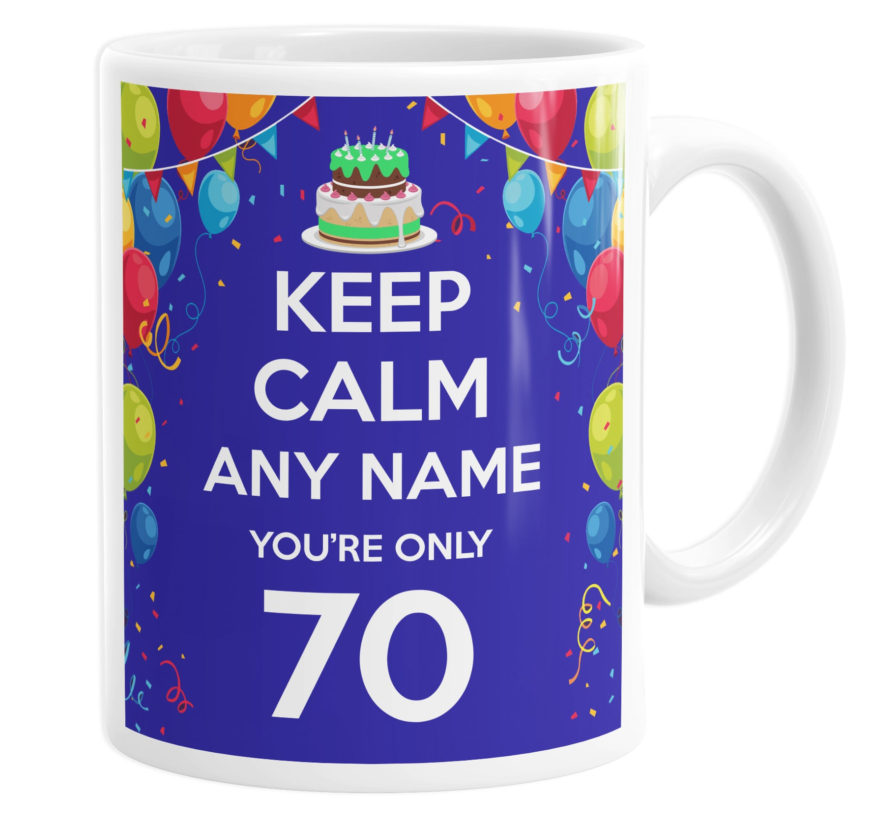 Keep Calm You're Only 70 Personalised Custom Name Mug