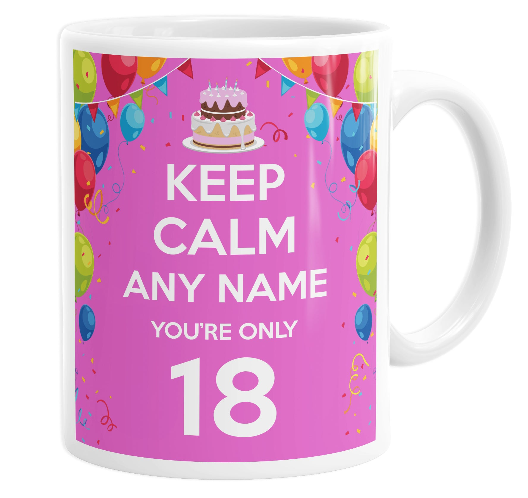 Keep Calm You're Only 18  Pink Personalised Custom Name Mug