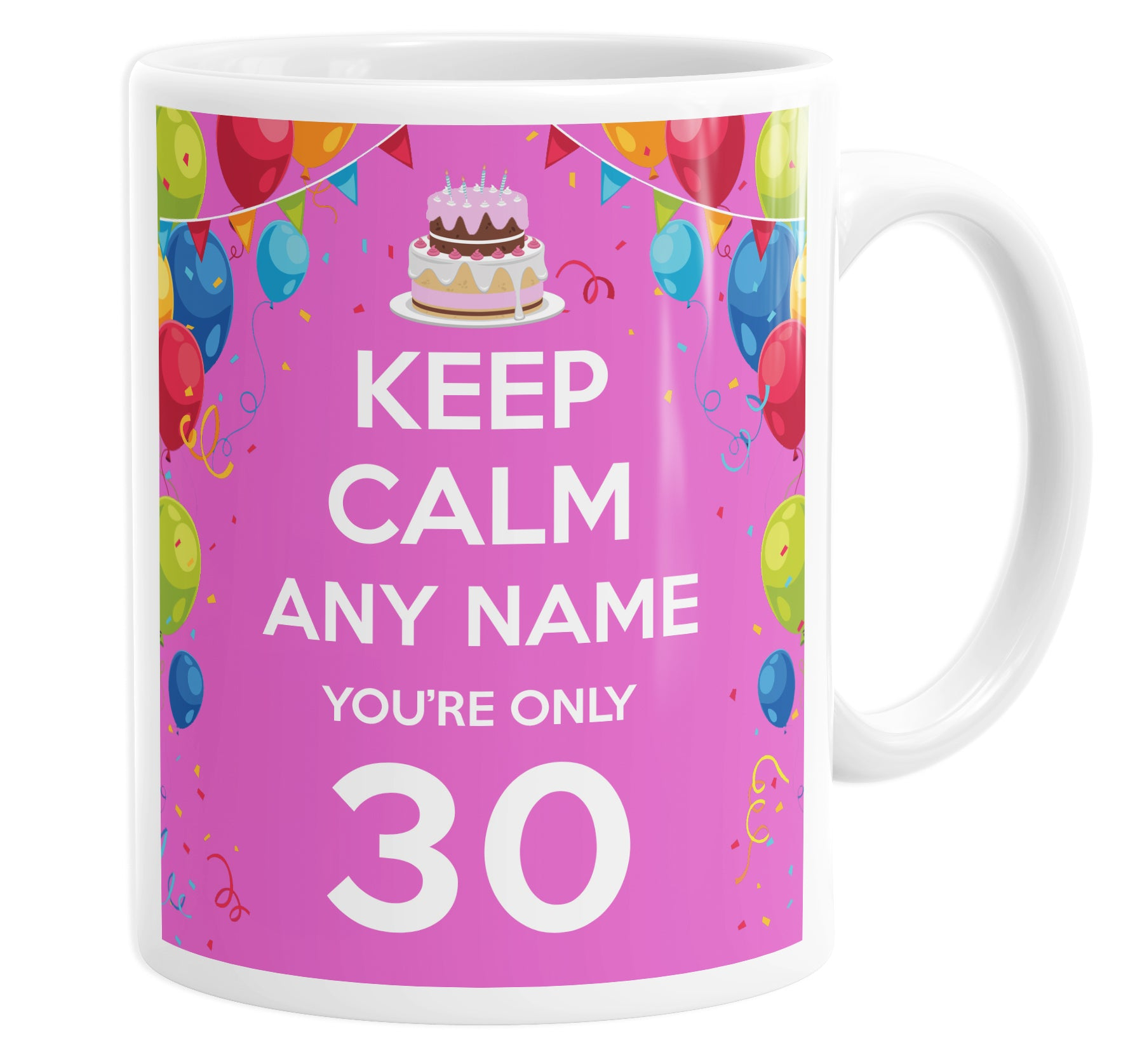 Keep Calm You're Only 30  Pink Personalised Custom Name Mug