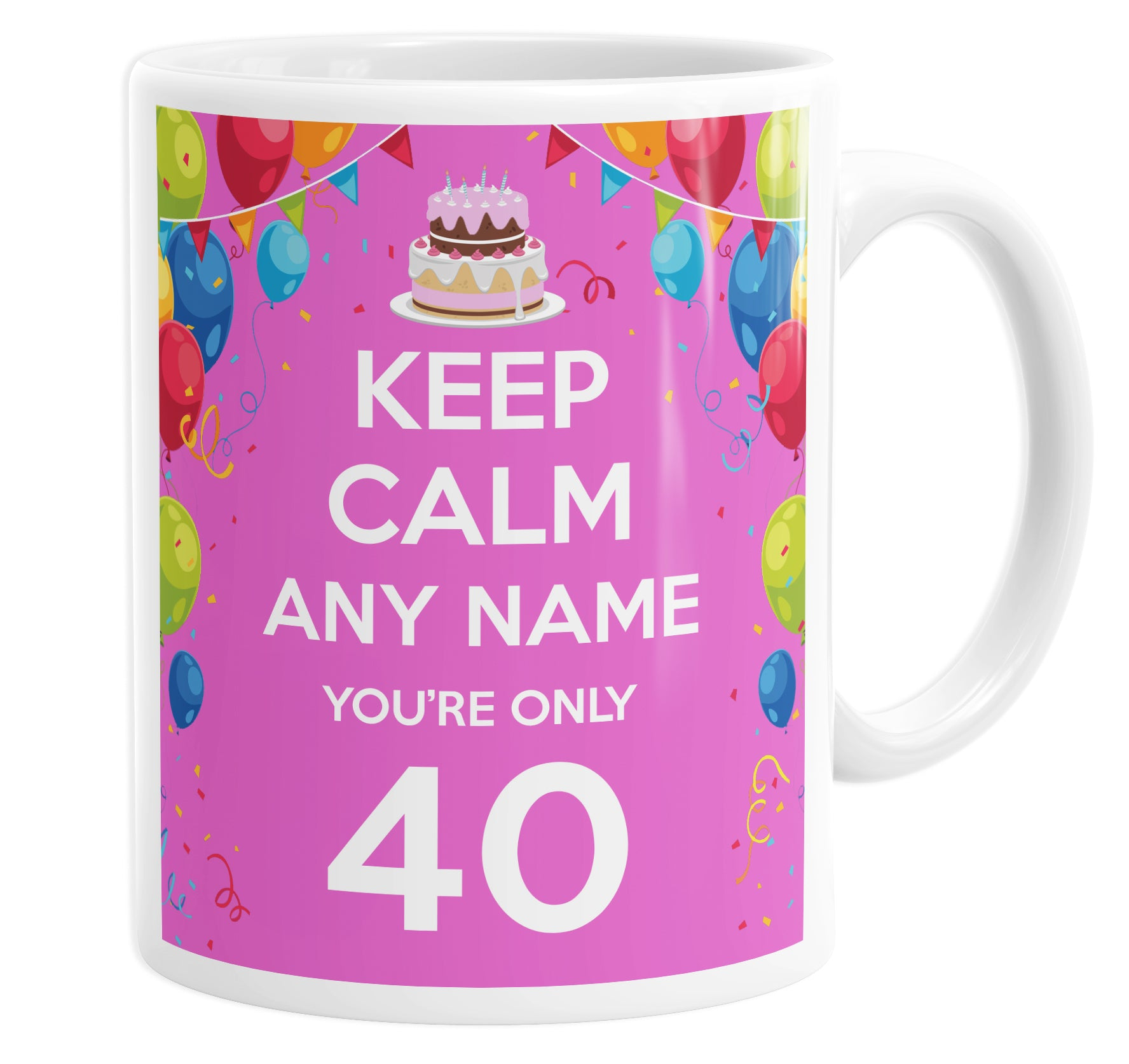 Keep Calm You're Only 40  Pink Personalised Custom Name Mug