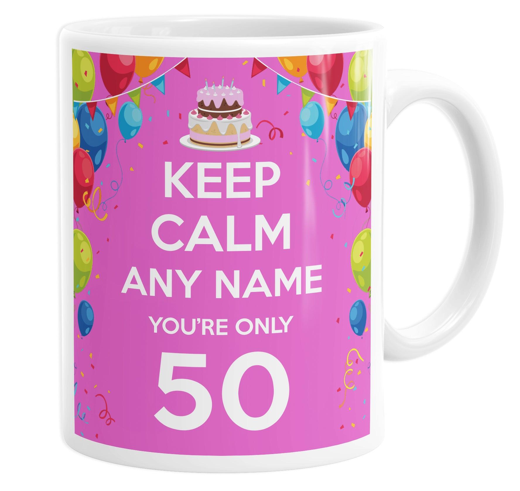 Keep Calm You're Only 50  Pink Personalised Custom Name Mug