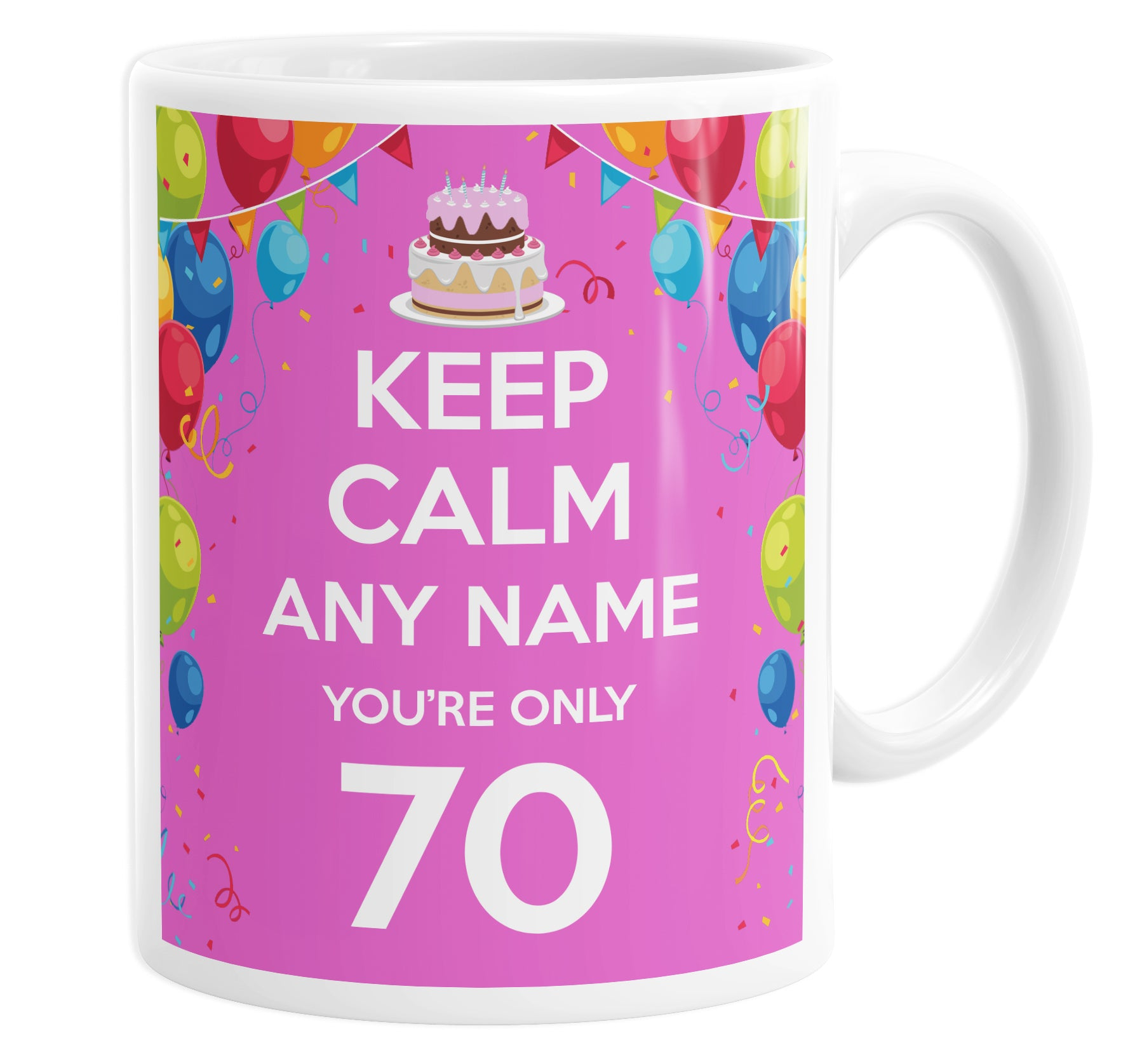 Keep Calm You're Only 70  Pink Personalised Custom Name Mug