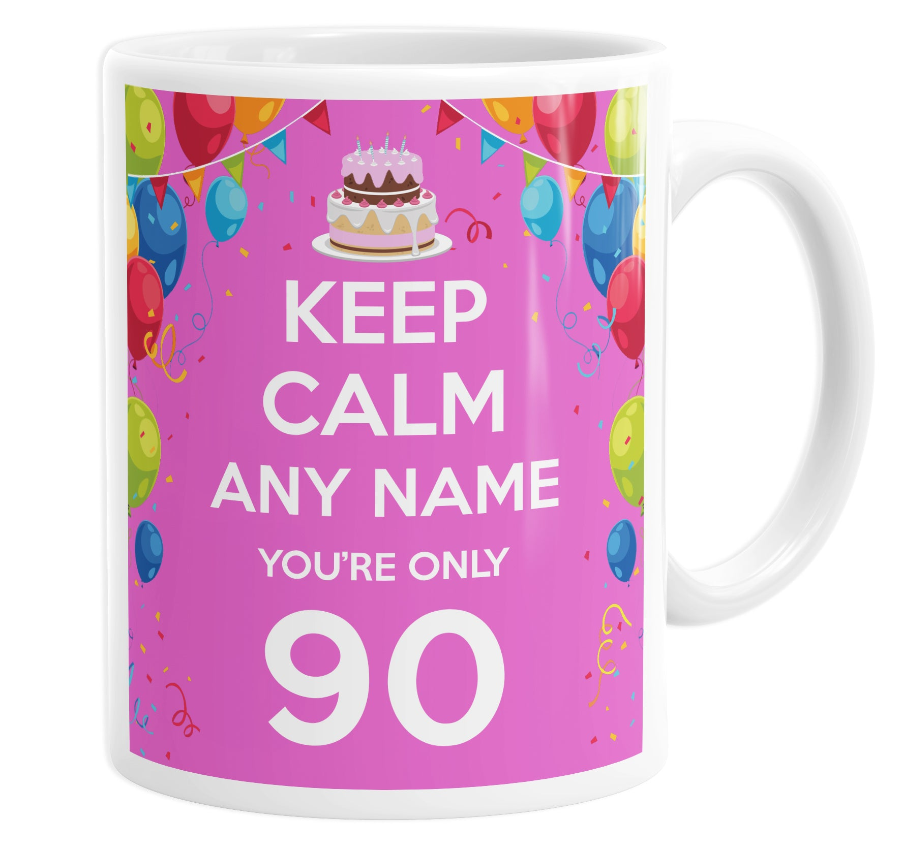 Keep Calm You're Only 90  Pink Personalised Custom Name Mug